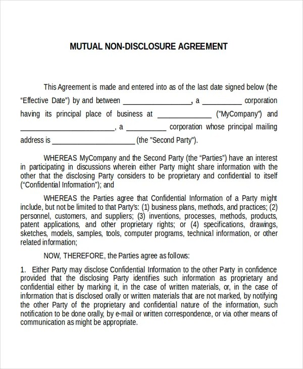 Non Disclosure Agreement Template NDA All Form Templates - non disclosure agreement