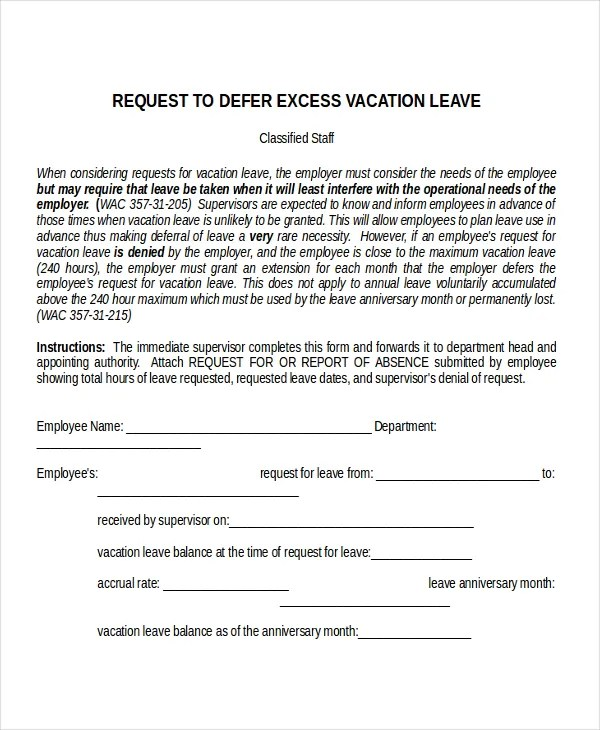 11+ Leave Letter Templates - Free Sample, Example, Format Free - format of leave application form