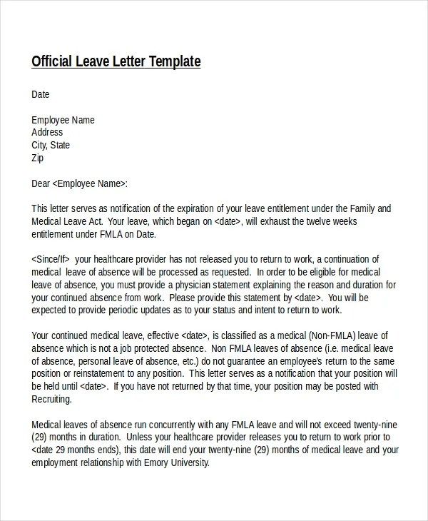 20+ Leave Letter Templates - PDF, DOC Free  Premium Templates - leave application template
