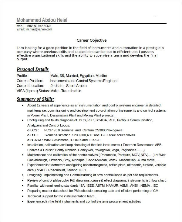 Electronics Resume Template - 8+ Free Word, PDF Document Downloads - electronic engineering resume