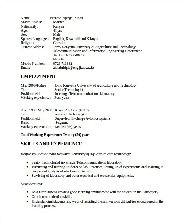 Electronics Resume Template - 8+ Free Word, PDF Document Downloads - electronics engineering resume samples