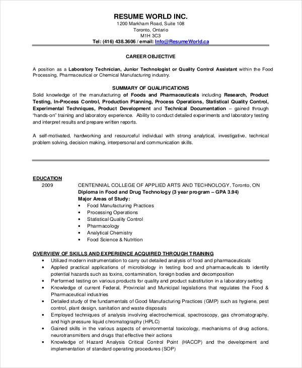 resume format for experienced quality control pdf