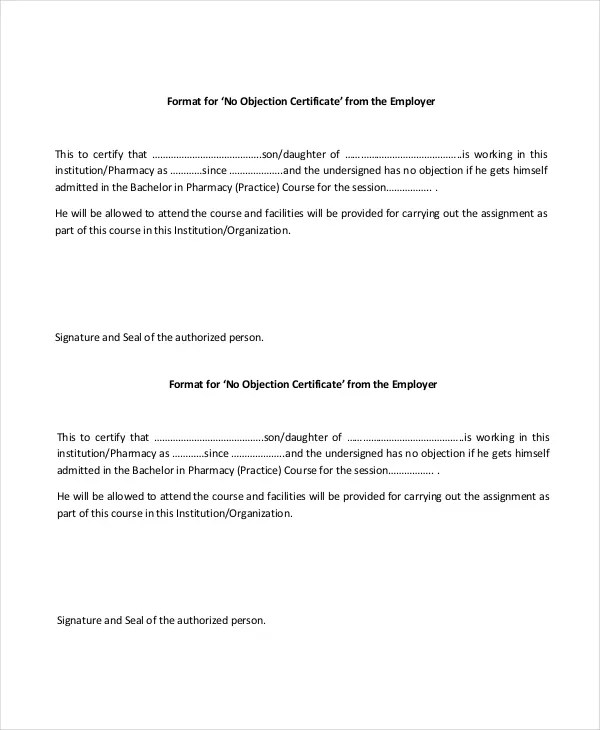 15+ No Objection Certificate Templates - PDF, DOC Free  Premium
