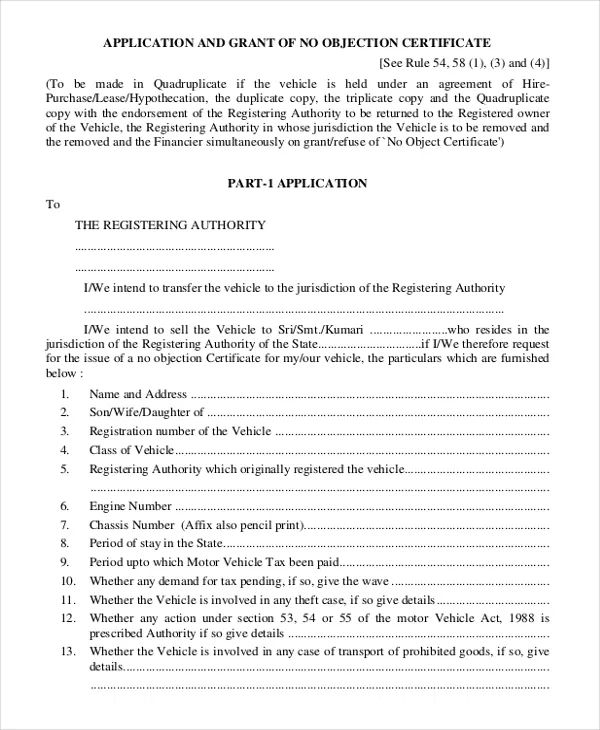 format of no objection certificate