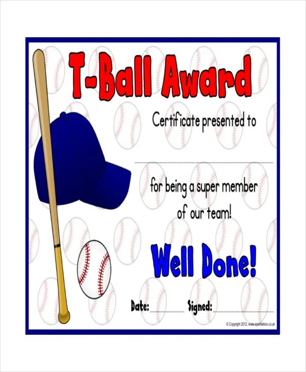 T-Ball Certificate Template - 5+ Free Word, PDF, Documents Download