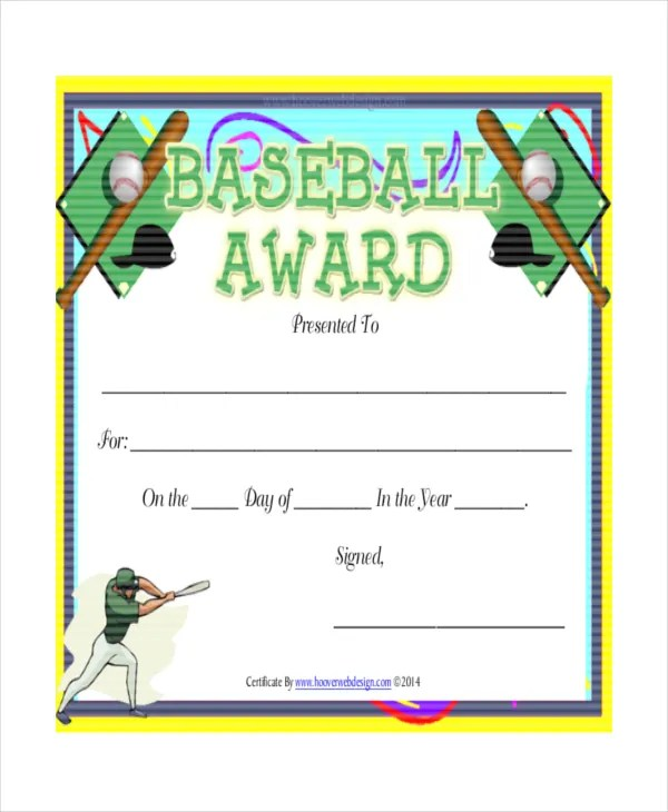 T-Ball Certificate Template - 5+ Free Word, PDF, Documents Download - free award certificates