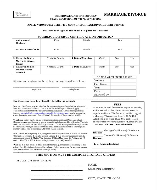Divorce Certificate Template - 9+ Free Word, PDF Document Downloads