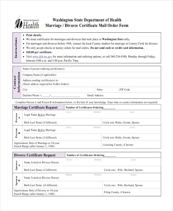 Divorce Certificate Template - 8+ Free Word, PDF Document Downloads