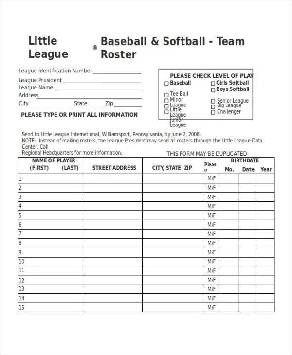 21+ Roster Form Templates 0- FreeSample, Example, Format Free
