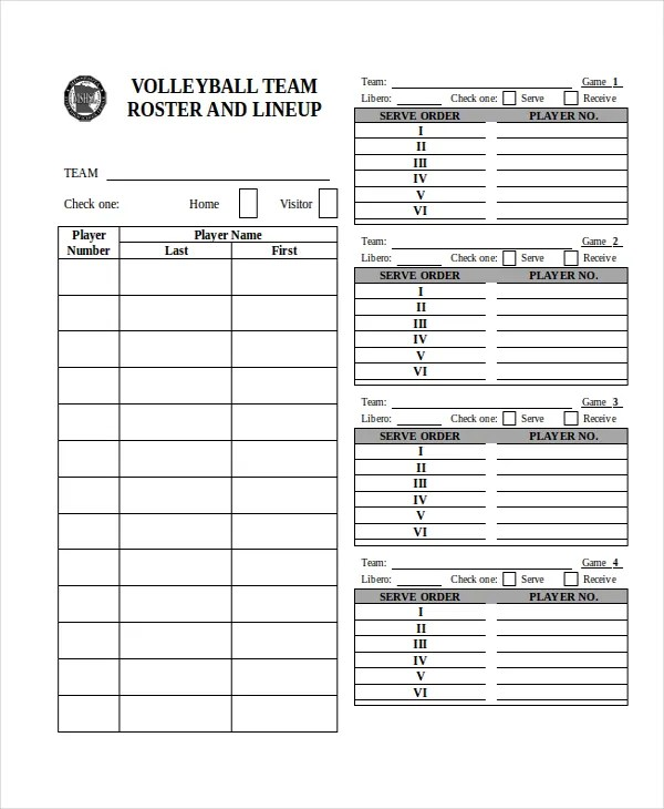 roster sheets template - Ozilalmanoof - volleyball roster template