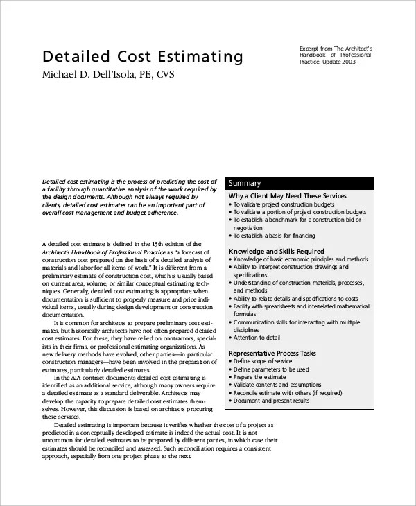 8+ Project Estimate Templates - Free Sample, Example, Format Free - professional estimate template