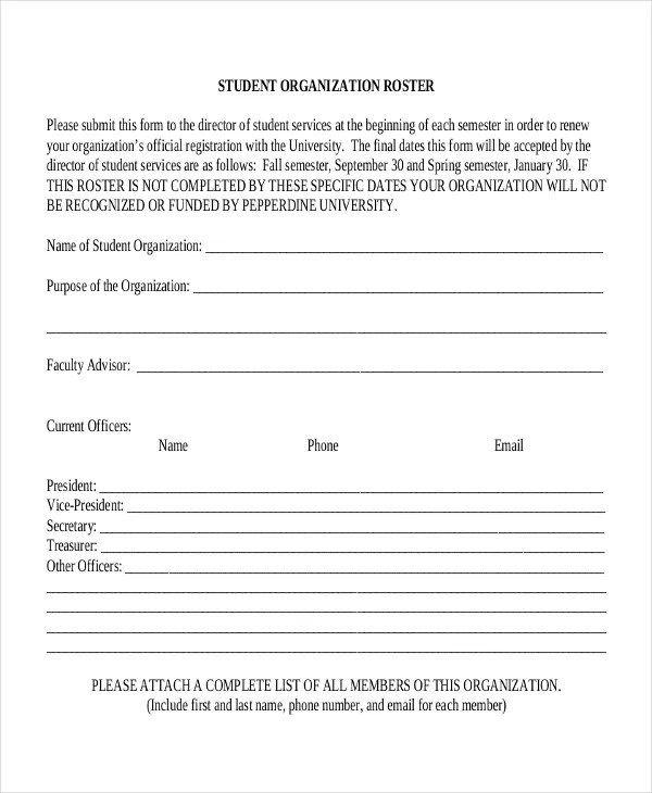 21+ Roster Form Templates 0- FreeSample, Example, Format Free - phone roster template