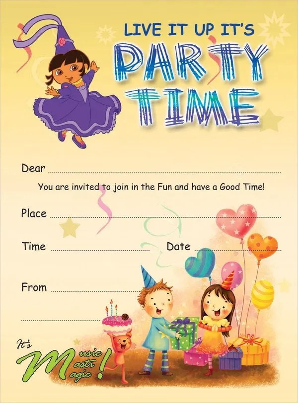 19+ Kids Party Invitation Templates - Free PSD, AI, Vector, EPS - free birthday party invitation template