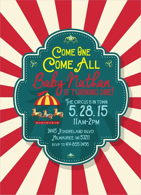 19+ Kids Party Invitation Templates - Free PSD, AI, Vector, EPS - circus party invitation