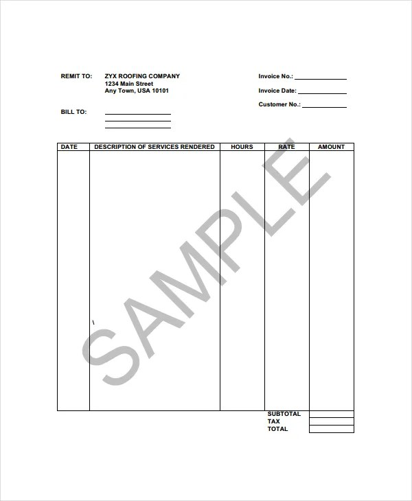 Roofing Invoice Template - 4+ Free Word, PDF Documents Download - professional service invoice template
