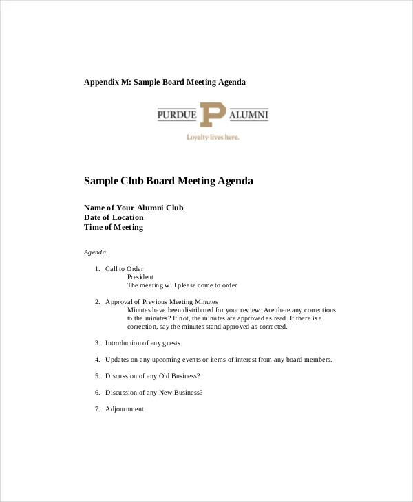 Club Meeting Agenda Template - 7+ Free Word, PDF Documents - sample meeting agenda 2