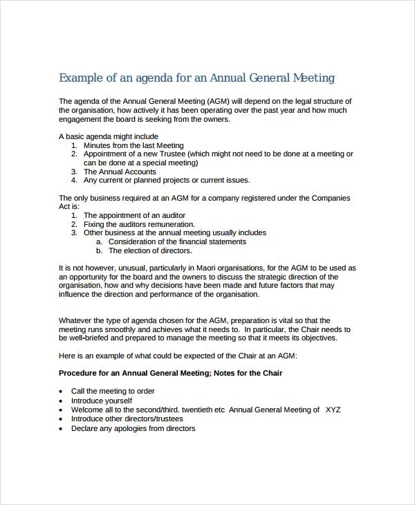Annual Meeting Agenda Template - 8+ Free Word, PDF Documents - business meeting agenda template