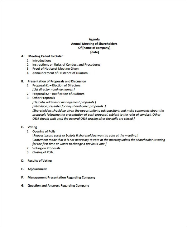 Annual Meeting Agenda Template - 8+ Free Word, PDF Documents - meeting agenda outline