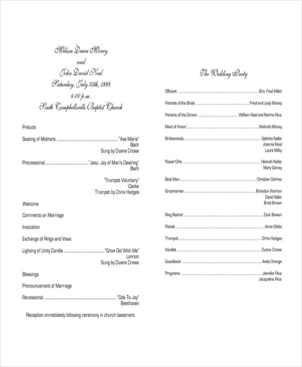 10+ Wedding Program Templates - Free Sample, Example, Format Free - wedding program template