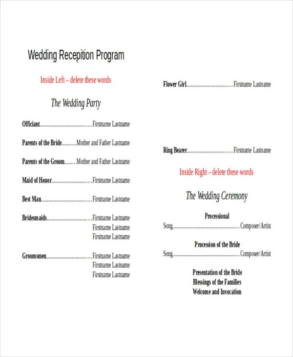 10+ Wedding Program Templates - Free Sample, Example, Format - sample program templates