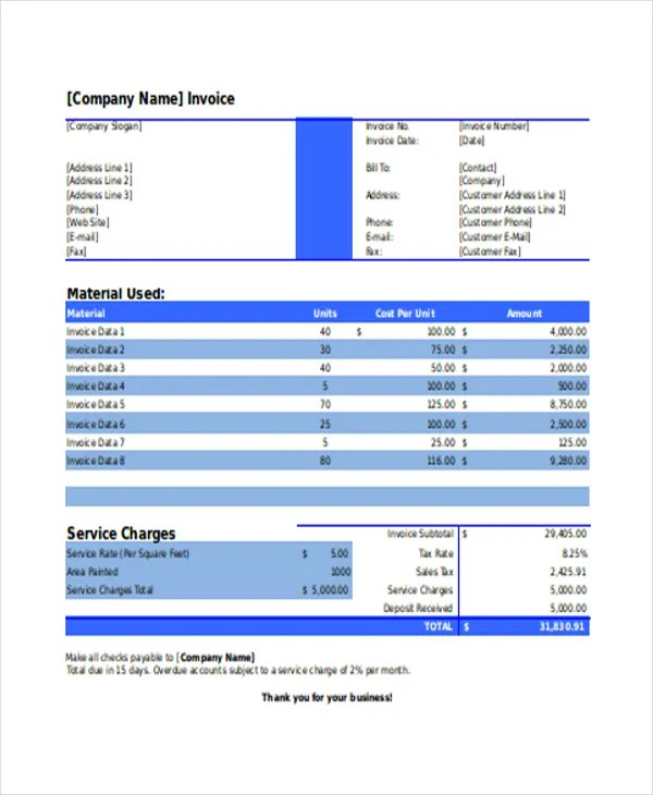 Elegant Painting Invoice Template - 7+ Free Excel, PDF Documents - business invoice templates free