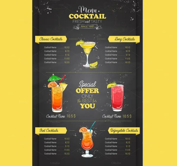 free cocktail menu template - Konipolycode