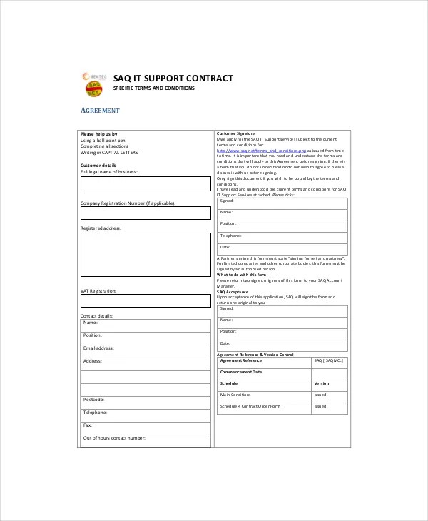 IT Contract Template - 5+ Free Word, PDF Documents Download Free - it support contract template