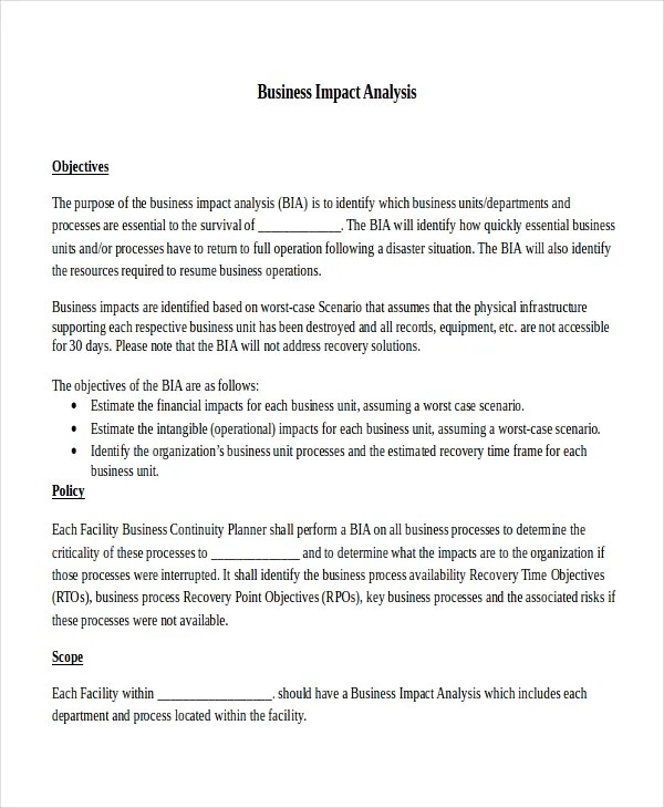 Impact Analysis Template - 11+ Free Word, PDF Documents Download