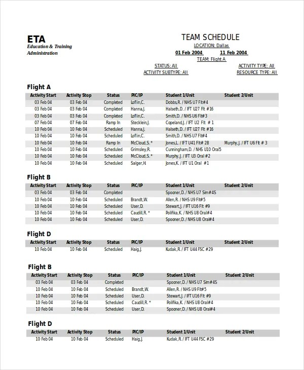Sports Schedule Template - 13+ Free Word, PDF Documents Download - event timetable template