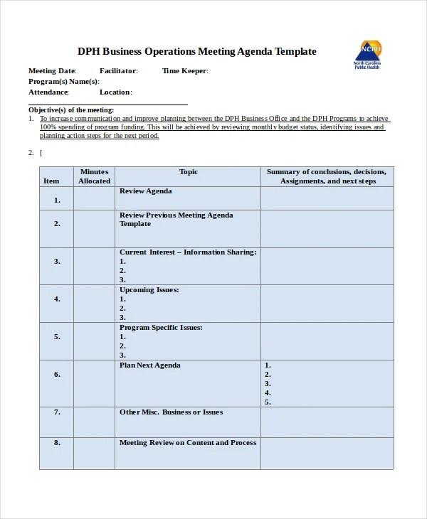 Company Meeting Agenda Template - 7+ Free Word, PDF Document