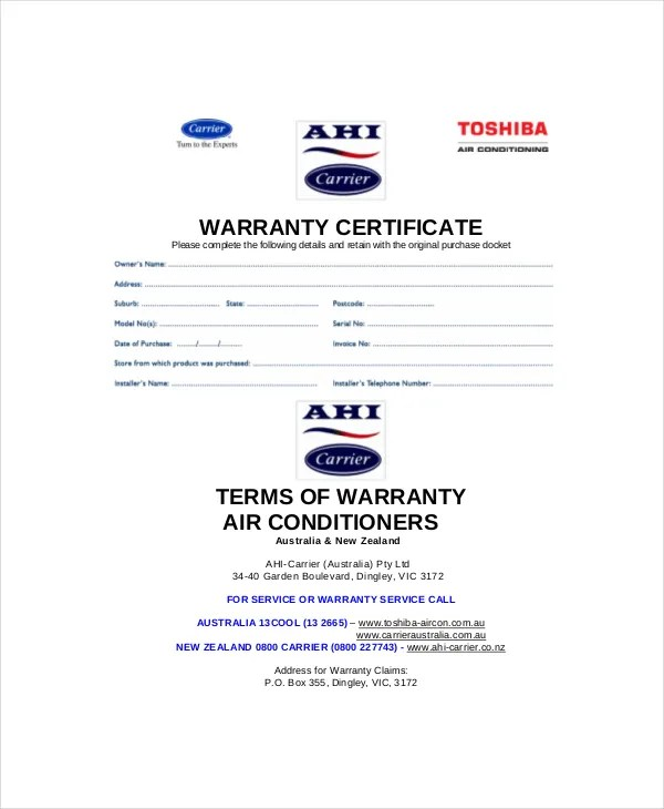 Warranty Certificate Template - 9+ Free Word, PDF Documents Download - Certificate Of Service Template