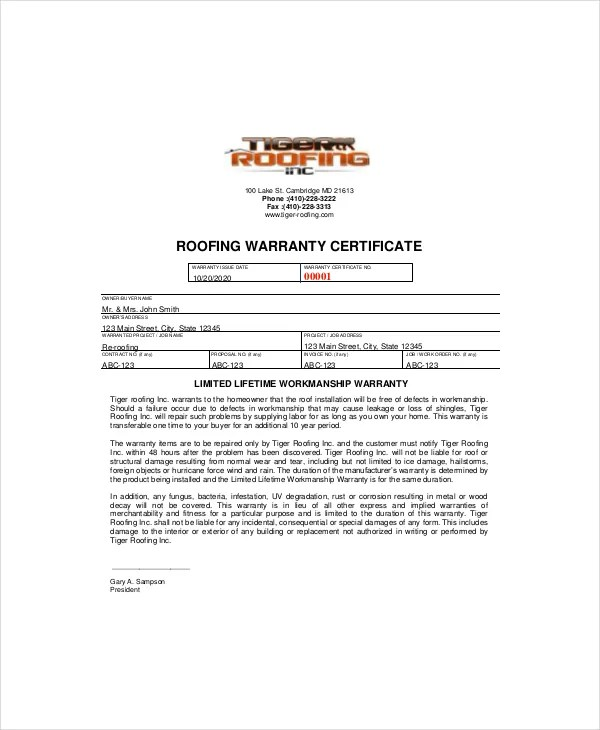 Warranty Certificate Template - 9+ Free Word, PDF Documents Download - Certification Document Template