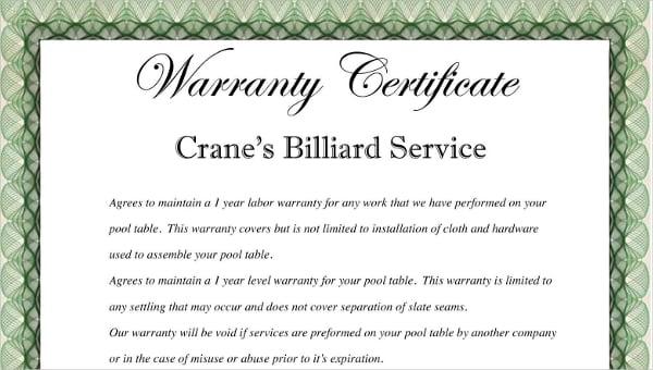 Warranty Certificate Template - 9+ Free Word, PDF Documents Download