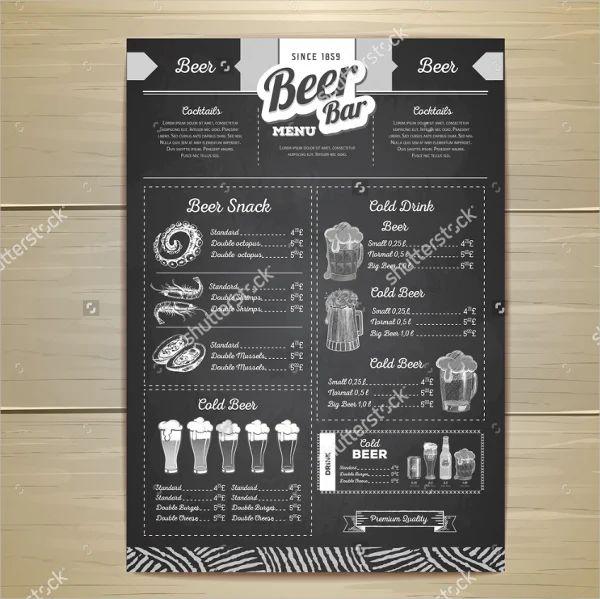pub menu templates