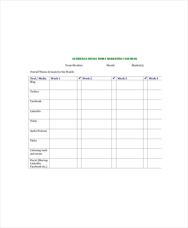 Social Media Calendar Template - 7+ Free Word, Excel, PDF Documents