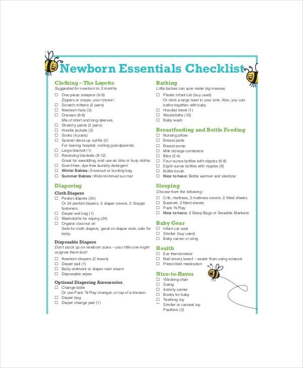 Essential Baby Registry Checklist - 7+ PDF Documents Download - newborn checklist