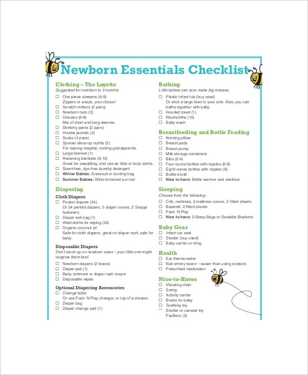 First Baby Registry Checklist - 6+ Free PDF, Word Documents Download