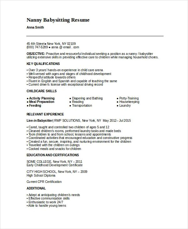 babysitting resume templates