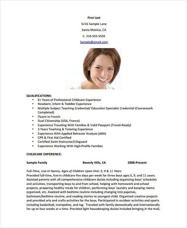 Nanny Resume Template - 5+ Free Word, PDF Document Download Free - sample of nanny resume