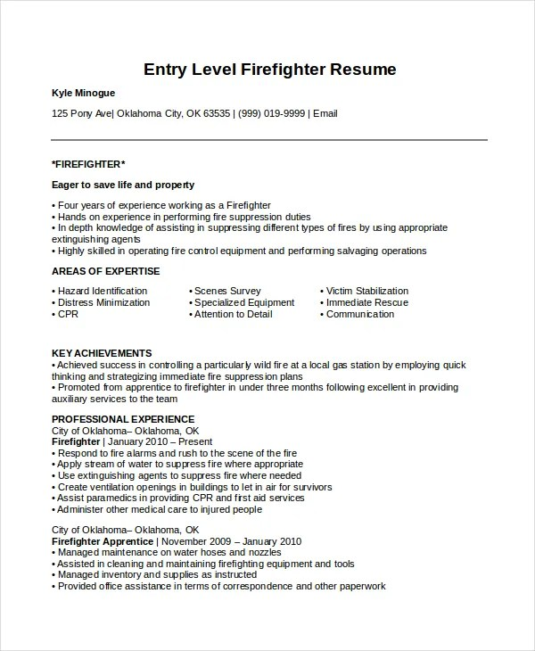 fire fighter resume - Ozilalmanoof