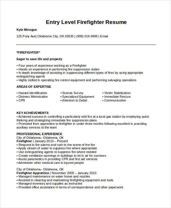 examples for firefighter resume