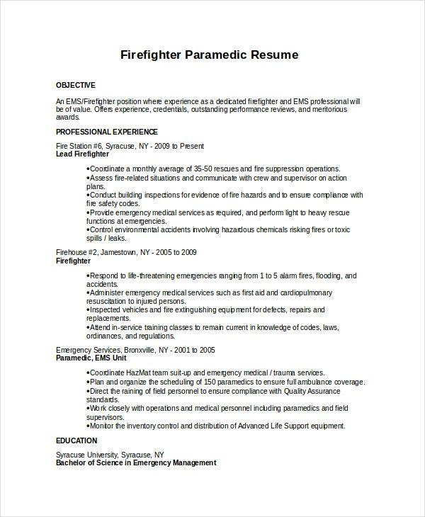 resume template for emt