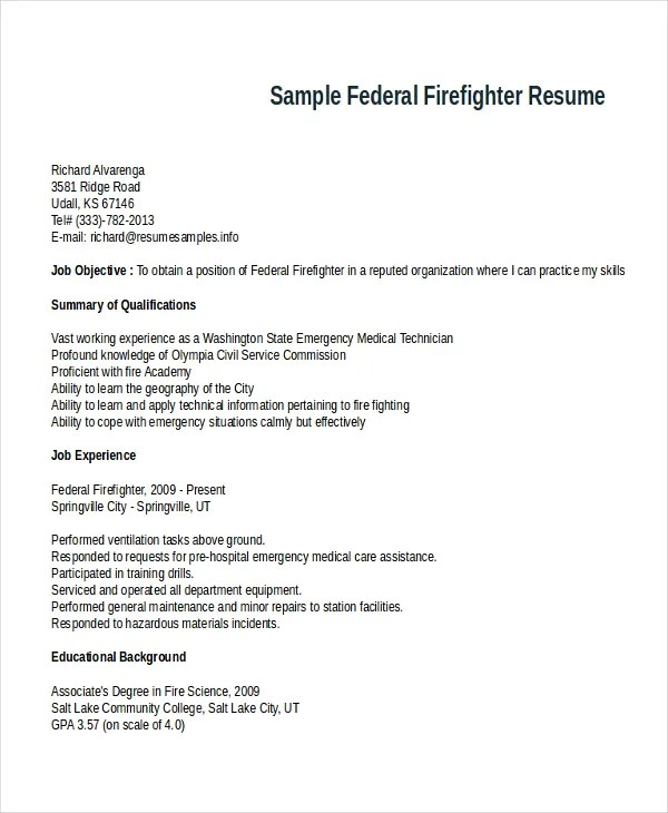 Sample Firefighter Cover Letter