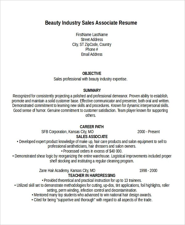 Sales Associate Resume Template - 8+ Free Word, PDF Document - resume samples sales associate