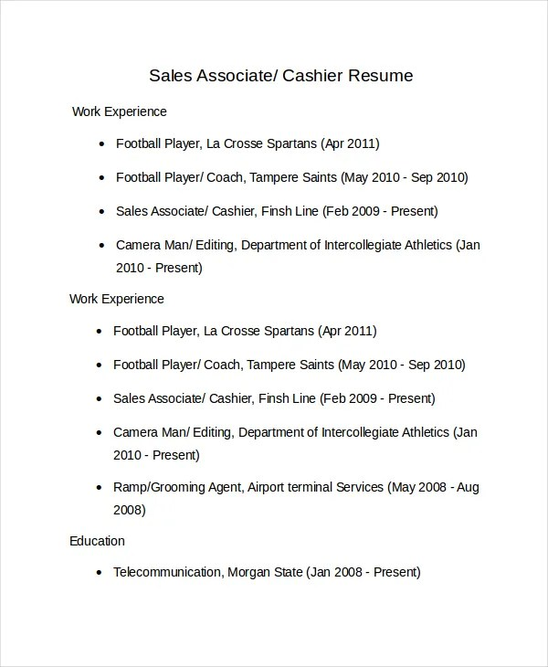 Sales Associate Resume Template - 8+ Free Word, PDF Document