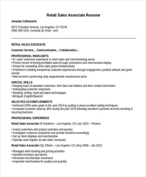 retail sales associate resume template - Yelommyphonecompany - sales associate on resume