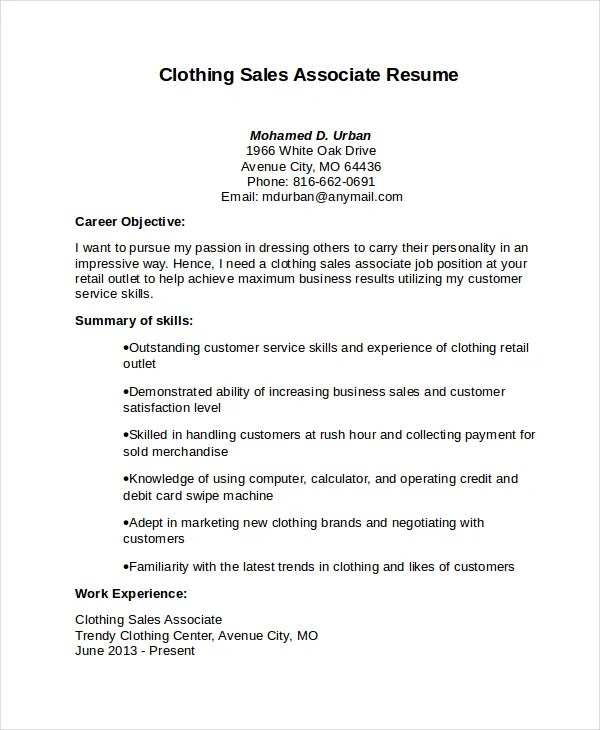 Sales Associate Resume Template - 8+ Free Word, PDF Document - resume for clothing sales associate