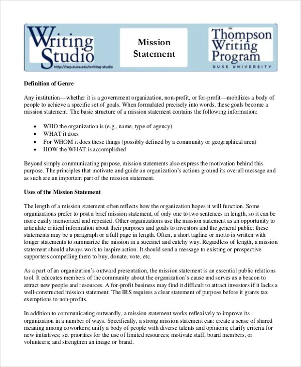 Mission Statement Template - 10+ Free Word, PDF Document Downloads