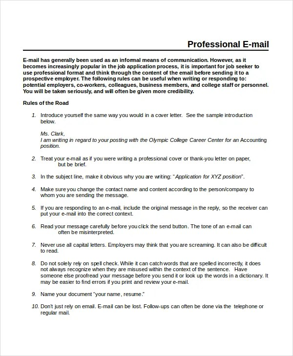 Professional Email Template - 5+ Free Word, PDF Document Downloads - professional document templates