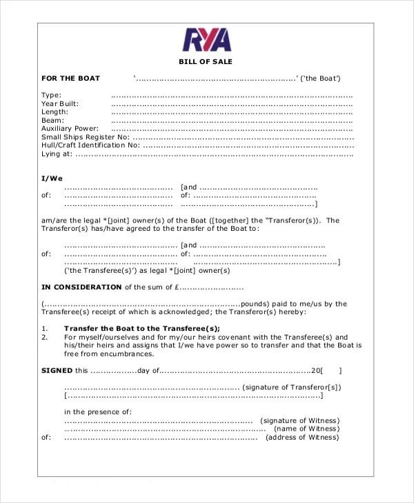 Blank Bill of Sale Template - 7+ Free Word, PDF Document Downloads